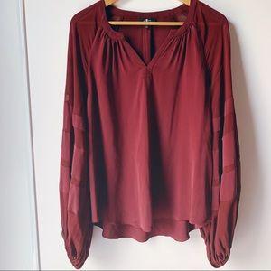 7 For All Mankind burgundy balloon sleeve silk top